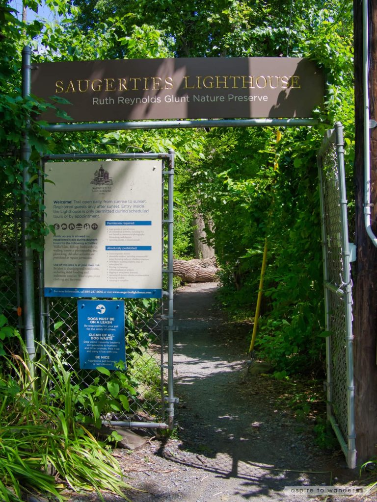 Entrance to the Saugerties Lighthouse and the Ruth Reynolds Glunt Nature Preserve | Photo by Kristina Quinones aka Aspire to Wander