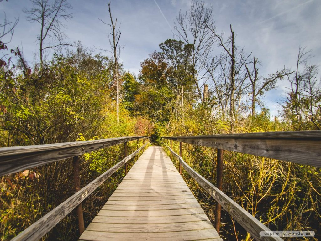 Footbridge at the Ruth Reynolds Glunt Nature Preserve, leading to the Saugerties Lighthouse | Photo by Kristina Quinones aka Aspire to Wander
